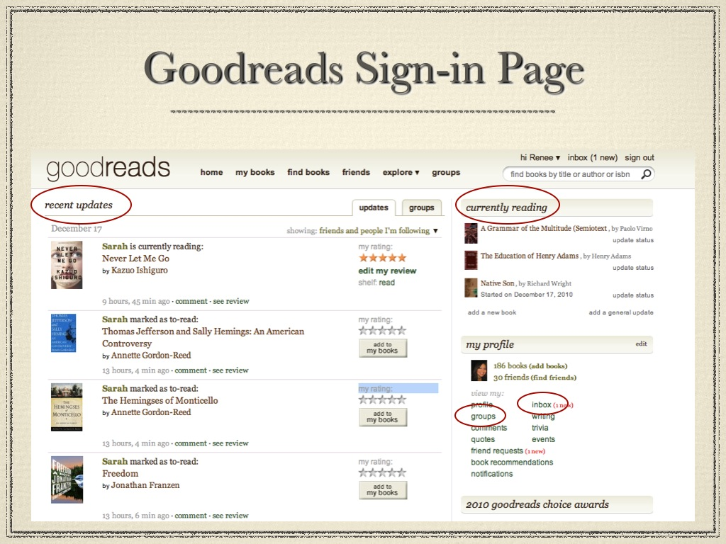 Screenshot of Goodreads home page