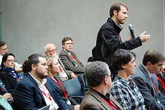 Discussion during an academic conference.