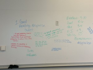 A white board with student writing, showing criteria for good tweeting