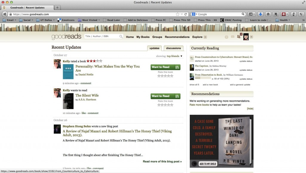 Screenshot showing GoodReads Social Reading Site