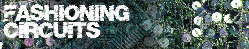 Logo for Fashioning Circuits; Project name on a background of circuit boards and sequins