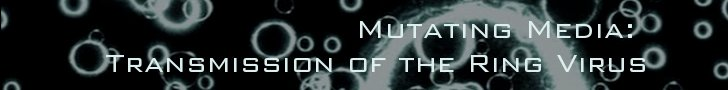 "white rings against a black background with text ""Mutating Media: Transmission of the Ring Virus"""