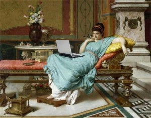 A Giannetti painting of a lounging woman, onto which Mike Licht has superimposed a laptop