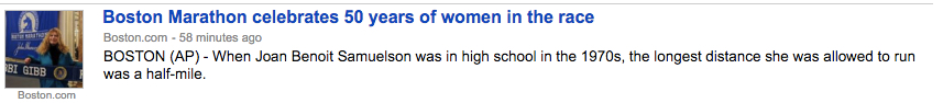 Headline for a story celebrating 50 years of women in the race