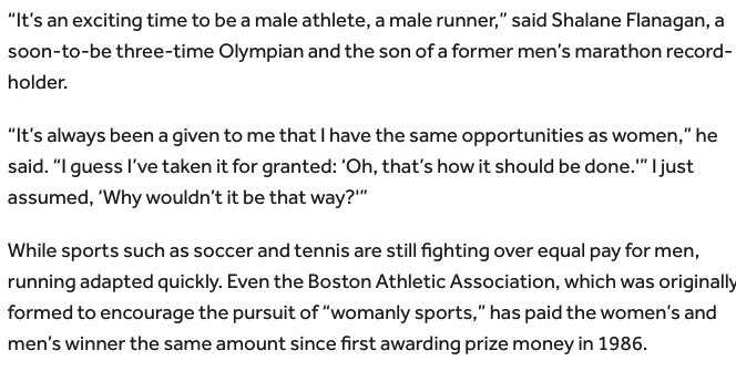Describes it as an exciting time to be a man in sports and suggests that men should be paid the same as women