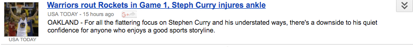 a headline describing steph curry's behavior as understated
