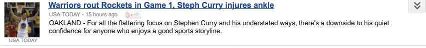 a headline describing steph curry's behavior as understated