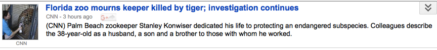 The regendered headline describes a zookeeper with a male name and as a husband, son, and brother to his coworkers.